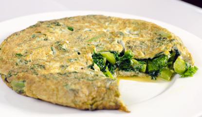 Presentacion tortilla de kale y ajos tiernos